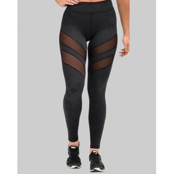 Black Mesh Insert Patchwork Active Stretch Legging