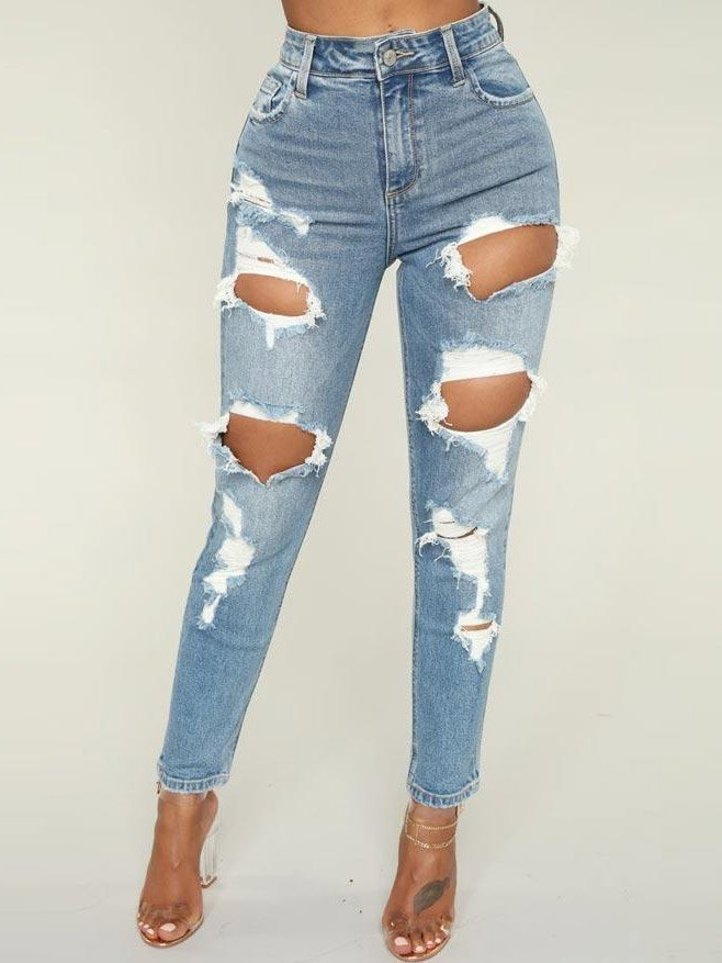 Hole Skinny Ankle Boyfriend High Waisted Jeans - Blue S