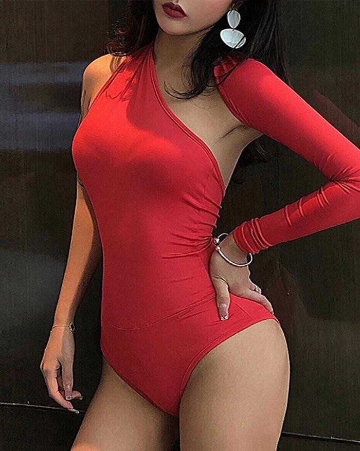 One Shoulder Long Sleeve Bodysuit - Red M