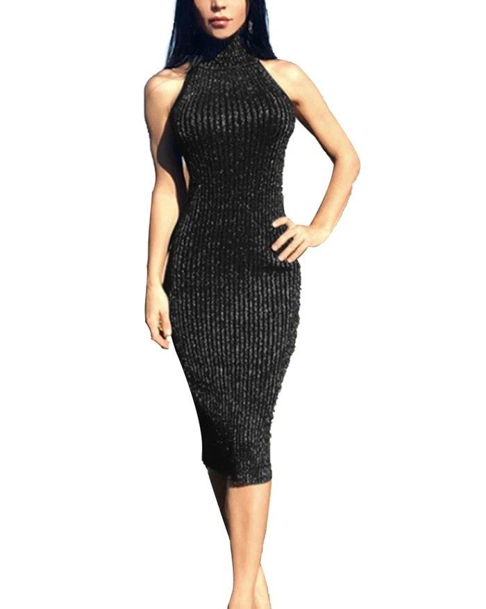 Halter Cross Back Sexy Turtleneck Dress - Black M