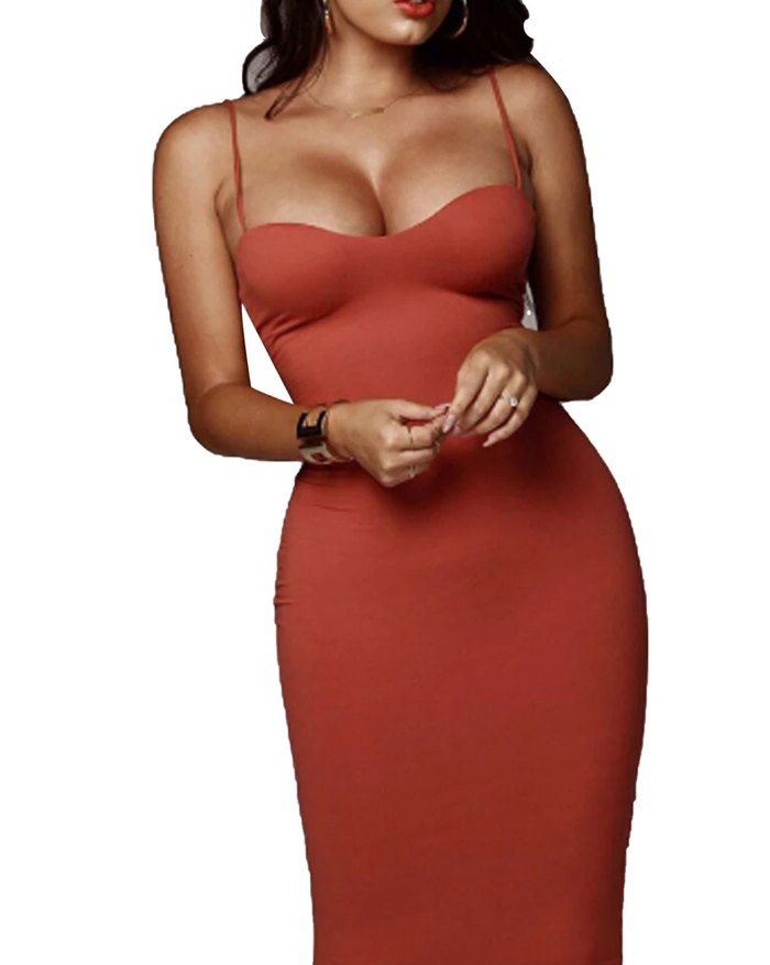 Double Layers Cotton Dress  Backless Slim Elastic Push Up Bandage Dress - Red XL