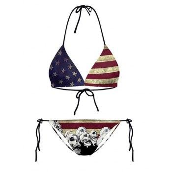 Hanging Neck American Flag Lace Up Triangle Bikini