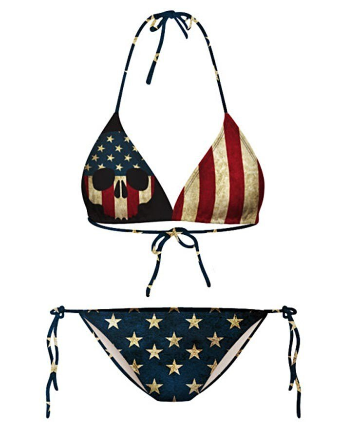 Hanging Neck Lace Up Star And Stripe Print Triangle Bikini - As The Picture L