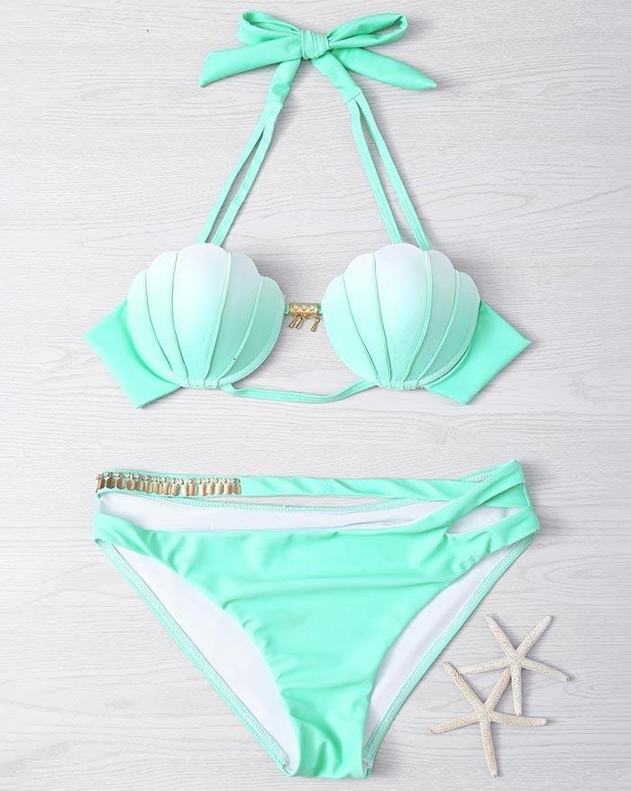 Tie-Dye Hanging Neck Mermaid Split Gradient Shell Triangle Bikini - Biscay Green M