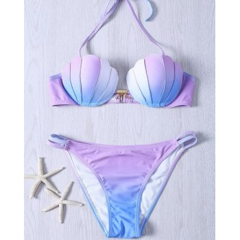 Tie-Dye Hanging Neck Meerjungfrau Split Gradient Shell Triangle Bikini