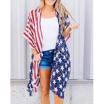 Half Sleeve American Flag Independence Day Print Split Jacket Top