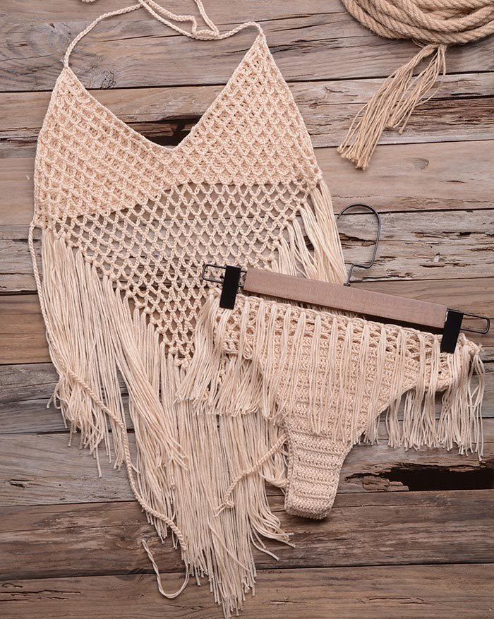 Handmade Knitted Openwork Split Tassel Triangle Bikini - Beige M