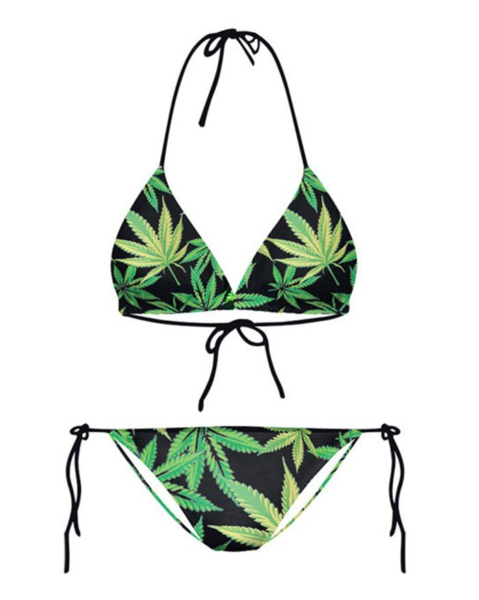 Green Leaf Print Hanging Neck Lace Up Micro Bikini - Green S