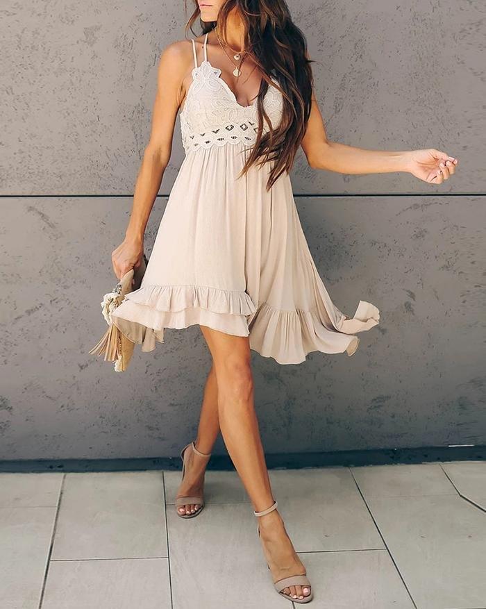 V-Neck Strap Lace Cutout Backless Mini Dress - Beige L