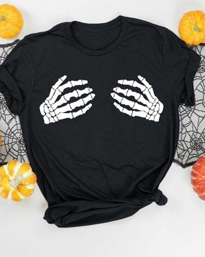 Bone Hand Funny Printed T-Shirt - Black L