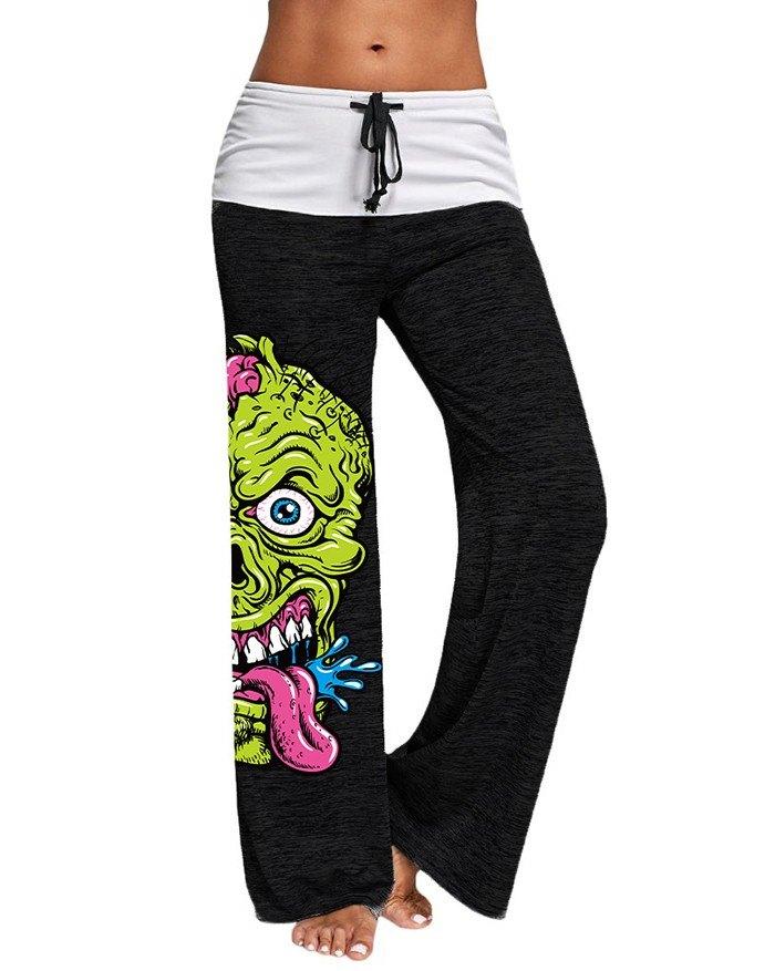 Stitching Skull Pattern Printed Active Yoga Pants - Black 2XL