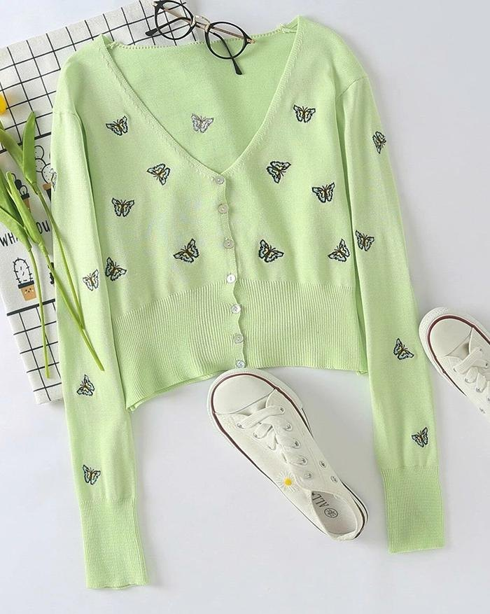 Butterfly Embroidered Button Cardigan - Sorbet Lime Green S