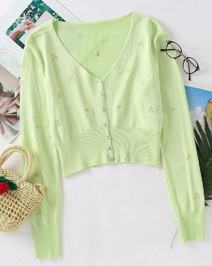 Flower Embroidered Knit Cardigan - Sorbet Lime Green S