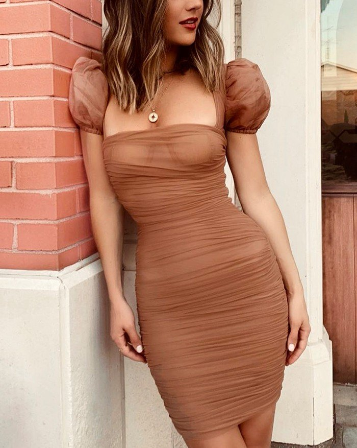Square Collar Puff Sleeve Pleated Hip Bandage Skirt Mesh Dress - Brown S