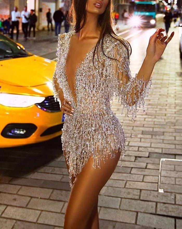 Sequined Fringed Deep V Mini Dress - Silver S