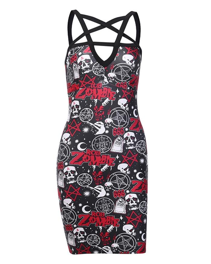 Halloween Dark Print Pentacle Beauty Back Dress - Black L
