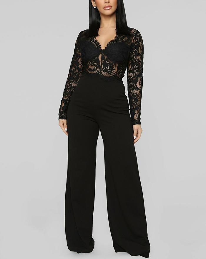 V-Neck Long Sleeve Lace Wide Leg Jumpsuit - Black M