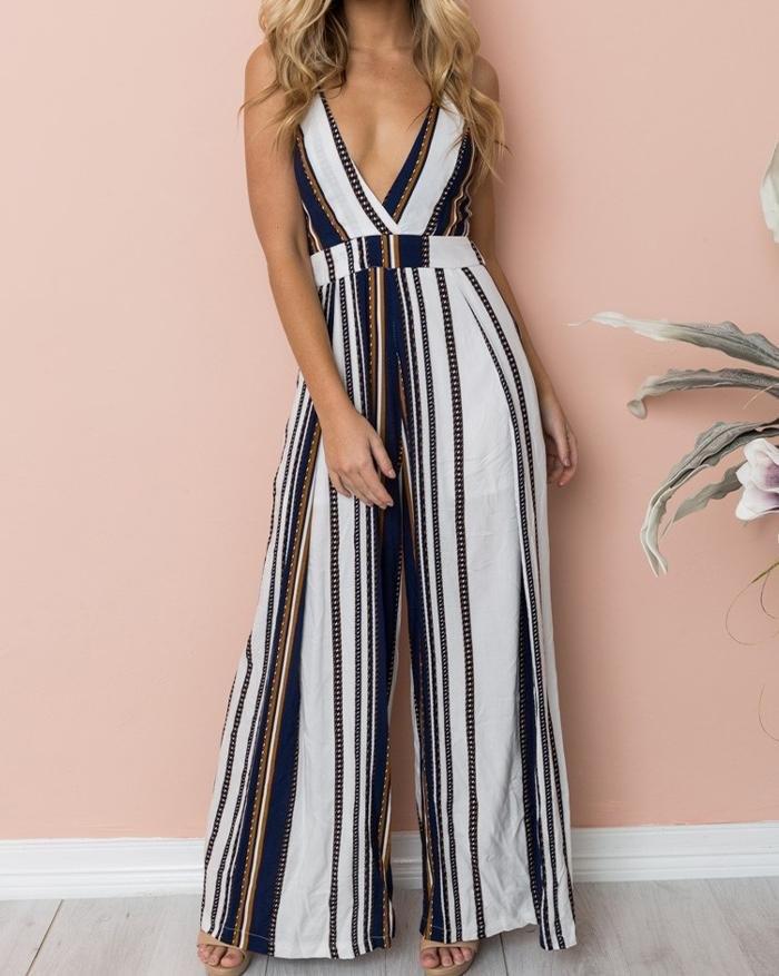 Sling Stitching Stripes Wide Leg Jumpsuit - Black M
