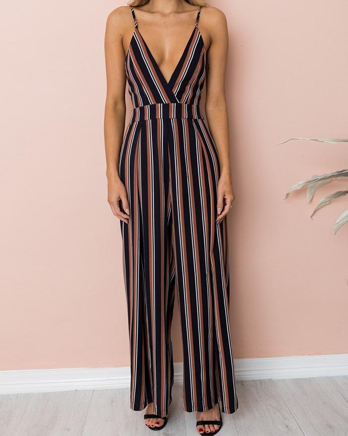 Sling Fight To Receive Waist Stripes Wide Leg Jumpsuit - Coffee M