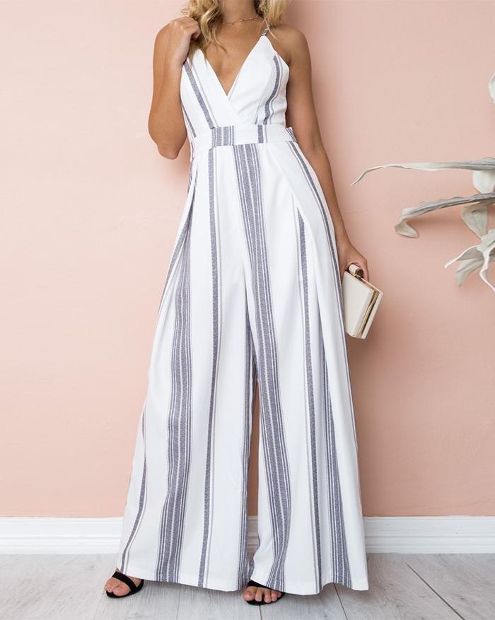 Strap White Waist Stripes Wide Leg Jumpsuit - White L