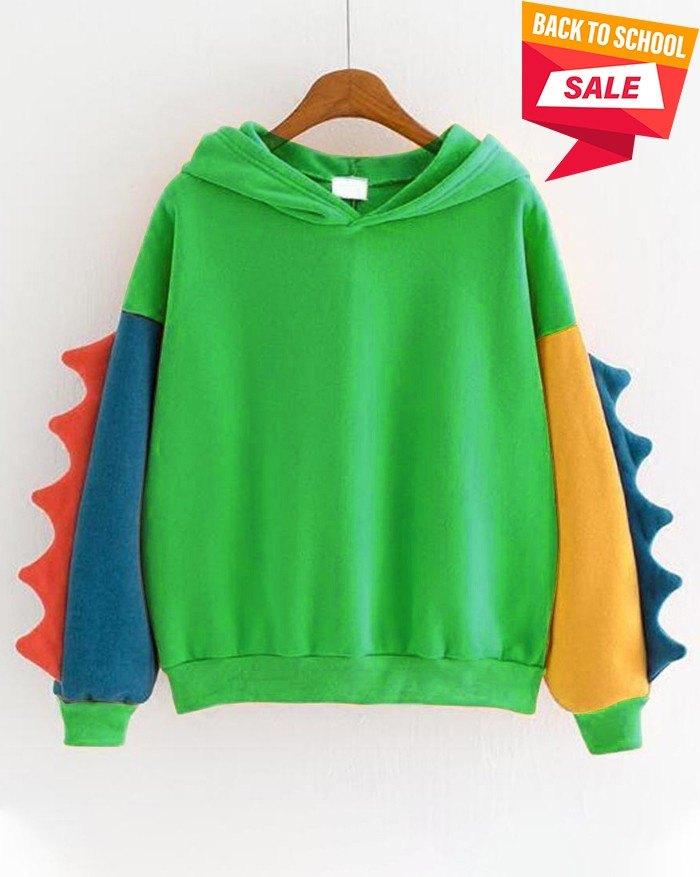 Dinosaur Color Block Long Sleeve Hoodie - Green 2XL