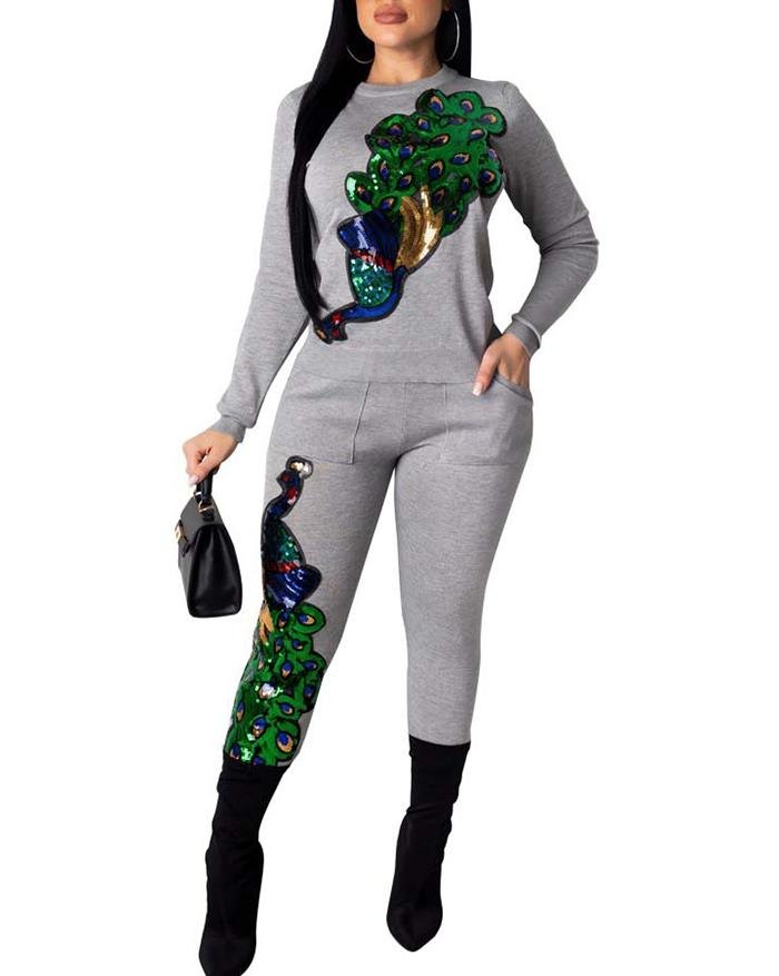 Sequin Peacock Print Long Sleeve Bodycon Jumpsuit - Gray S