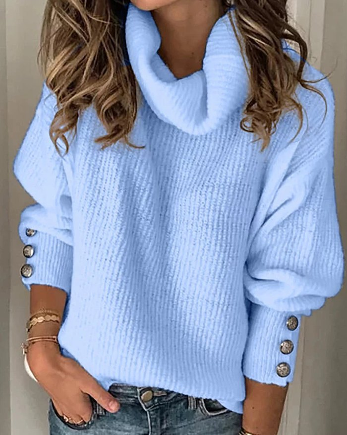 Turtleneck Button Sleeve Sweater - Pure Blue M