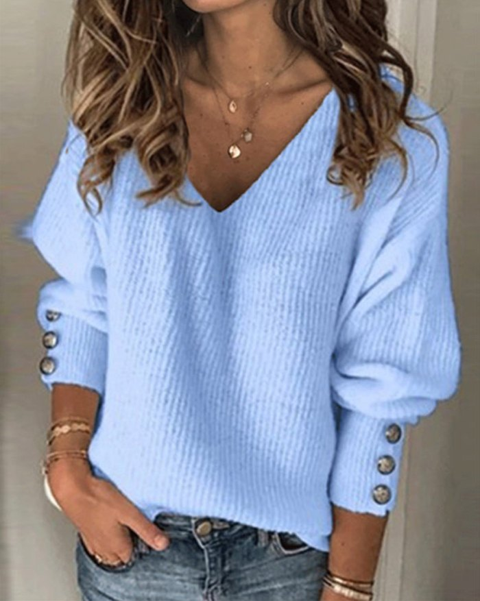 V-Neck Button Sleeve Sweater - Pure Blue S
