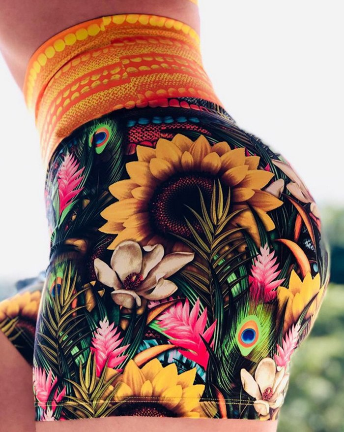 High Waist Push Up Multicolor Sunflower Feather Printed Active Short - Mixcolor 3XL