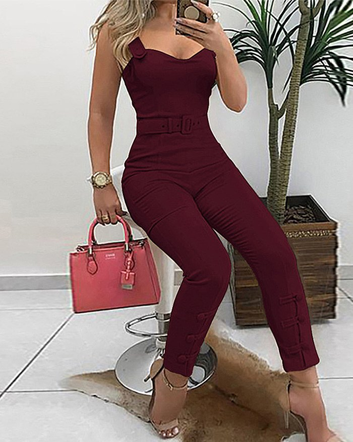 Splice Buckle Bodycon Jumpsuit - Burgundy L