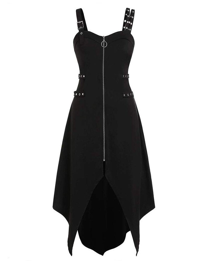 Harajuku Vintage Punk Chain Zipper Strap Back Gothic Dress - Black M