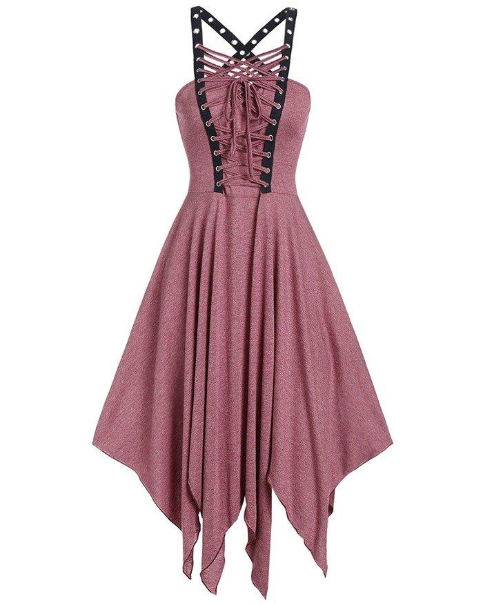 Bandage Harajuku Vintage Punk Chain Zipper Strap Back Gothic Dress - Pink 2XL