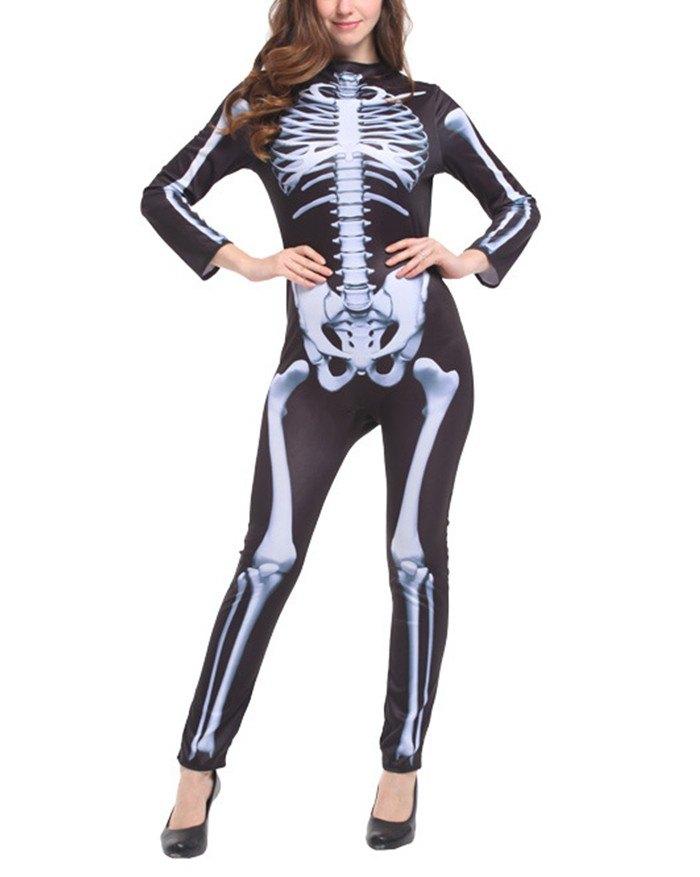 Skull Element Long Sleeve  Bodycon Jumpsuit - Black M