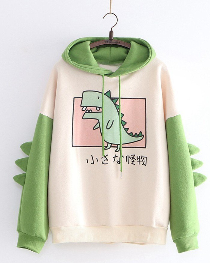 Dinosaur Stitching Color Long-Sleeved Hoodie - Green XL
