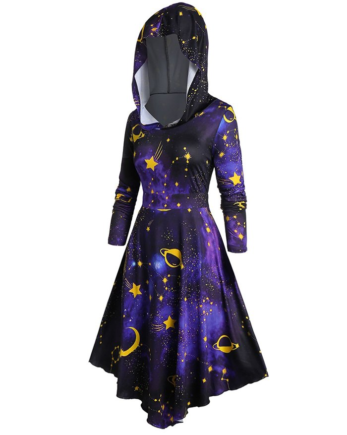 Halloween Hooded Starry Sky Galaxy Print Cloak Irregular Dress - Black S