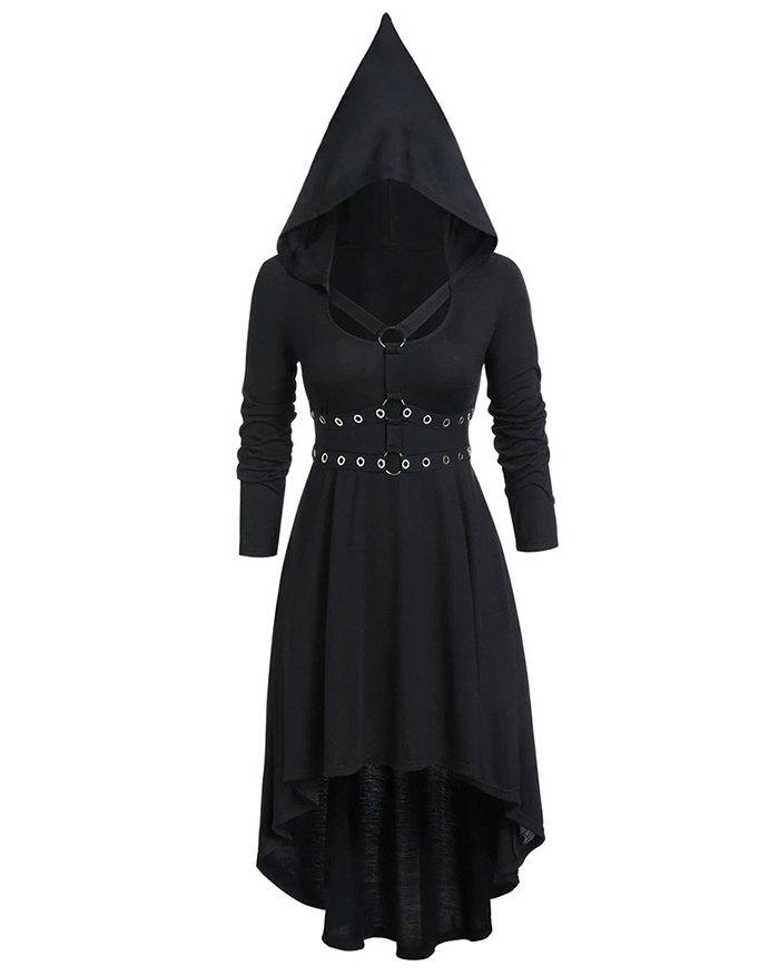 Cross-tie Long-sleeved Eyelet Irregular Robe Dress - Black 2XL