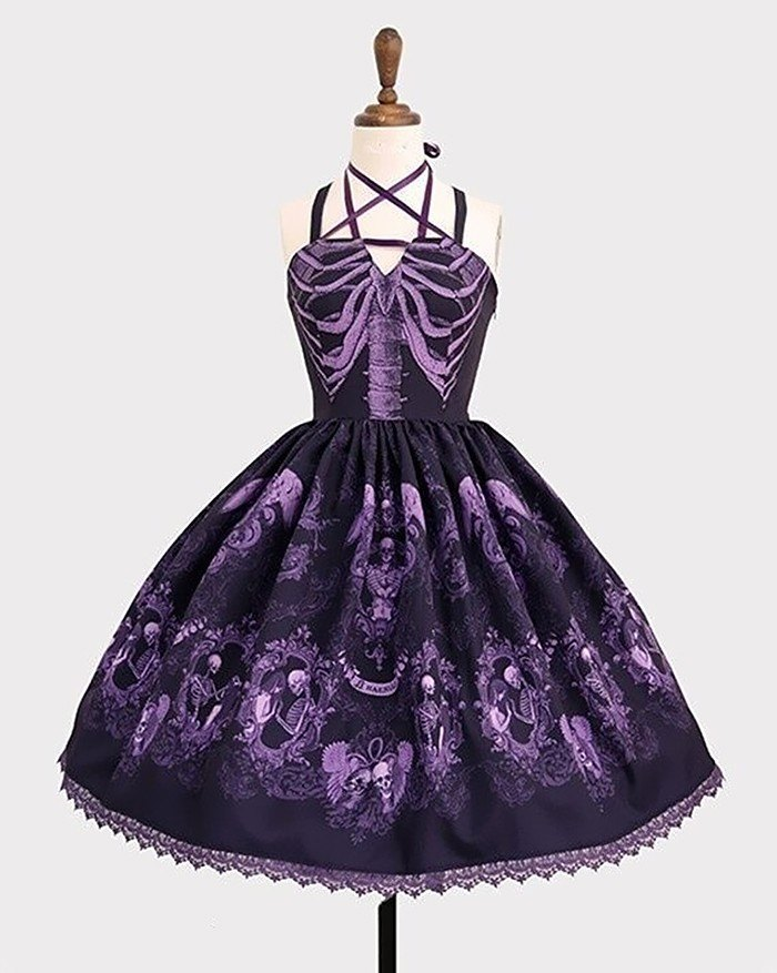 Vintage Gothic Spaghetti Embroidery Lace Patchwork Strapless Dresses - Purple L