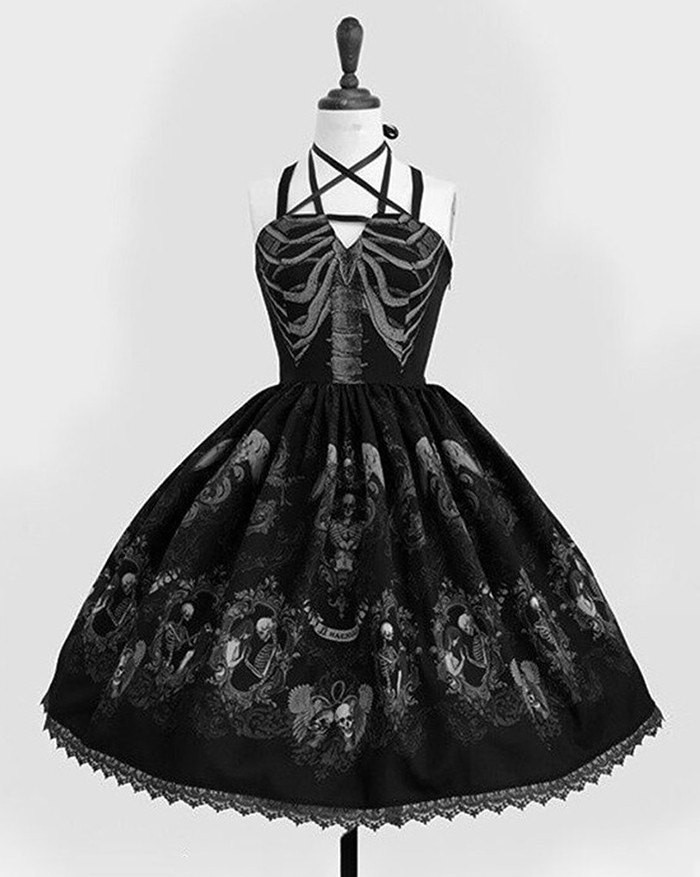 Vintage Gothic Spaghetti Embroidery Lace Patchwork Strapless Dresses - Black XL