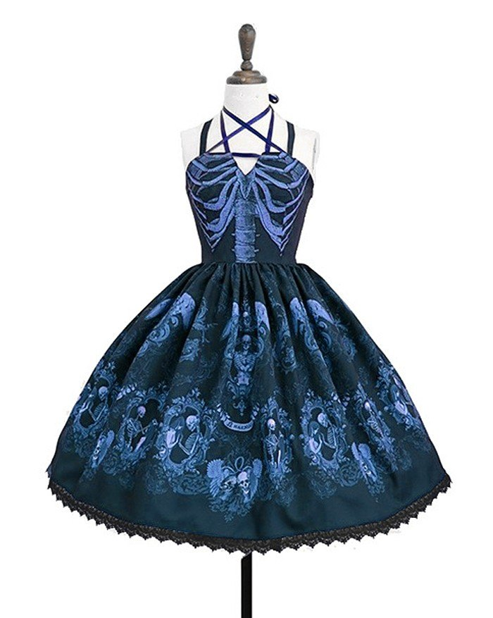 Vintage Gothic Spaghetti Embroidery Lace Patchwork Strapless Dresses - Blue L