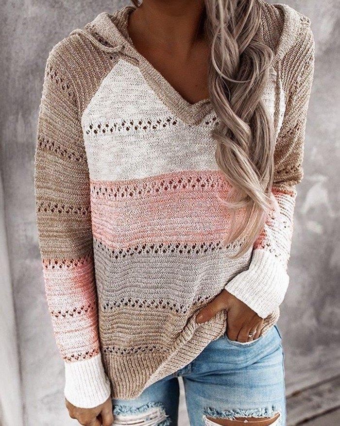 V-Neck Stripe Hooded knit Sweater - Pink S
