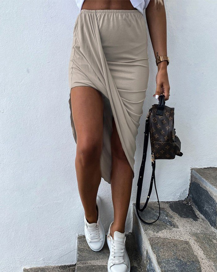 Elastic High Waist Thin Ruffled Irregular Pure Color Sexy Creases Long Skirts - Beige XL