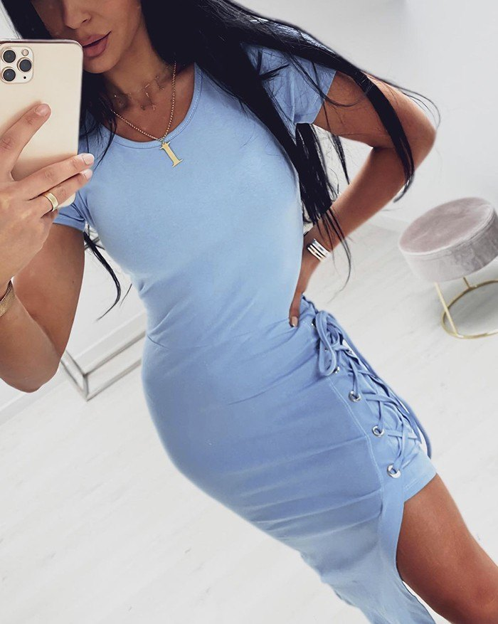 Slit Strap For Slim Body Solid Color  With Round Collar Bodycon Dress - Blue XL