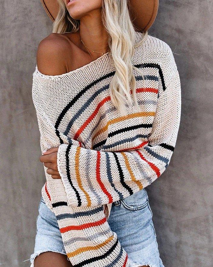 Drop Shoulder Rainbow Stripe Sweater - White XL