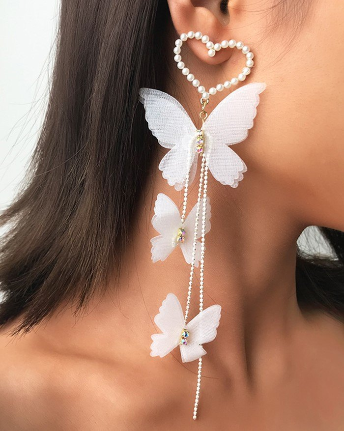 Romantic Love Pearl Butterfly Earring - White ONE SIZE