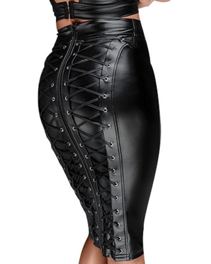 Gothic Faux Leather Back Zipper Lace-up Wrap Midi Skirt - Black 2XL