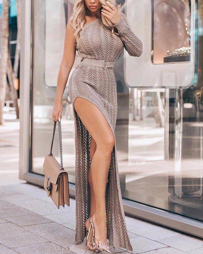One Shoulder Hollow High Slit Knitted Beach Maxi Dress - Camel M