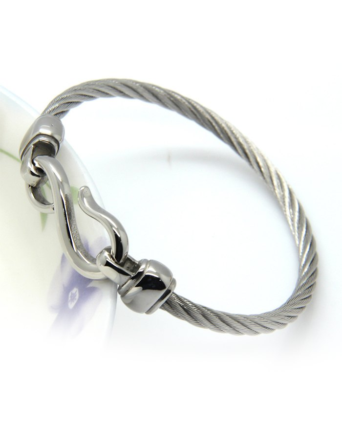 Creative Splayed Fish Hook Bracelet - Silver ONE SIZE