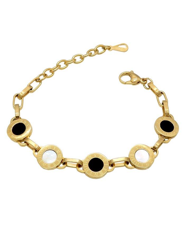 Black White Bell Roman Numeral Bracelet - Golden ONE SIZE