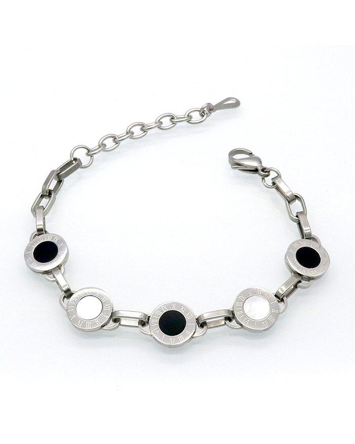 Black White Bell Roman Numeral Bracelet - Silver ONE SIZE