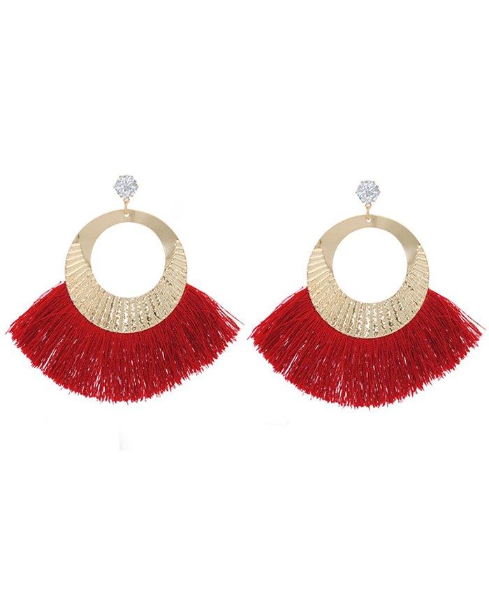 Cotton Scalloped Fringe Rhinestone Earring - Red ONE SIZE